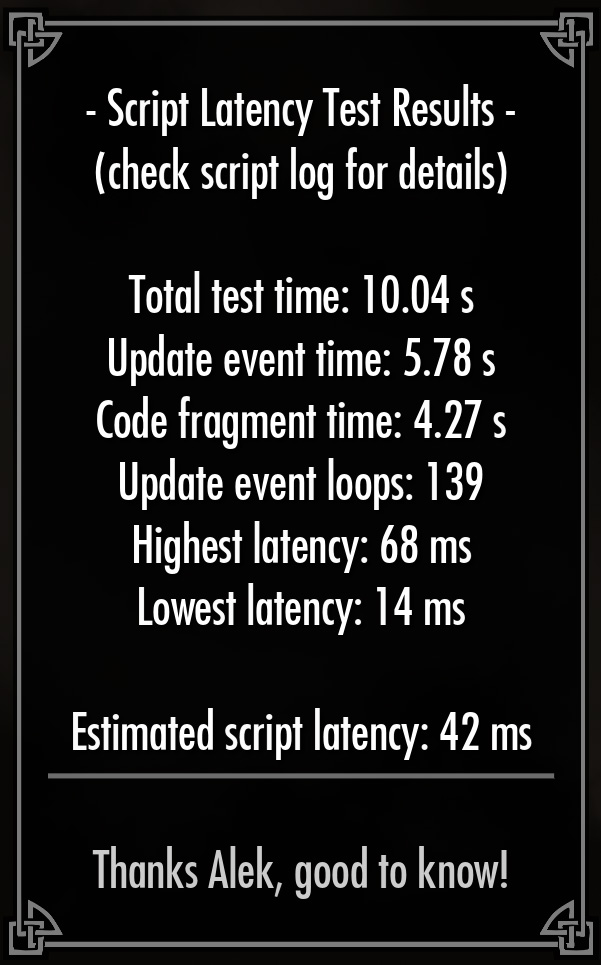 Script Latency Test