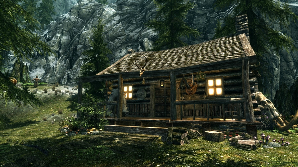 Hunter 39 s cabin of riverwood at skyrim nexus mods and for Cabins near hunter mountain