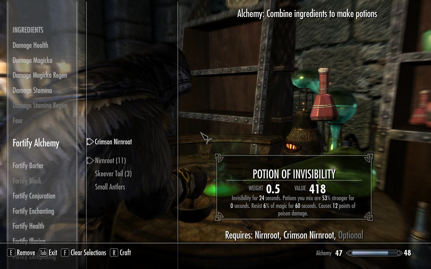skyrim how to make potion of healing