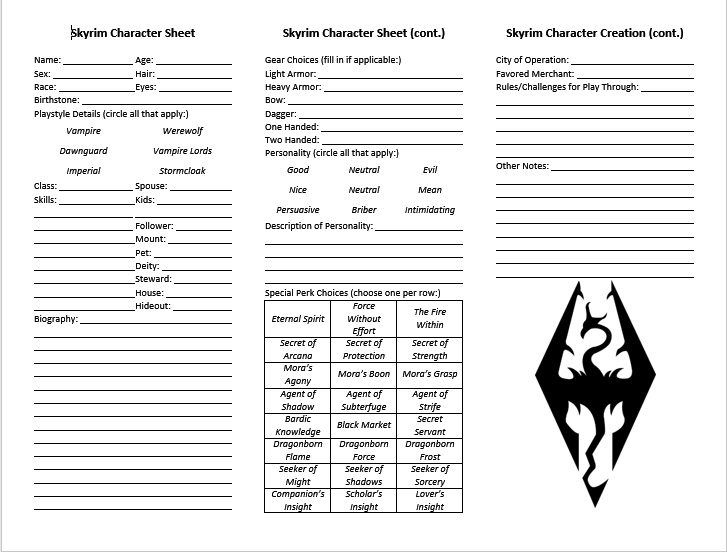 Character Creation Sheet and Other Minor Resources at Skyrim Nexus – Character Creation Worksheet