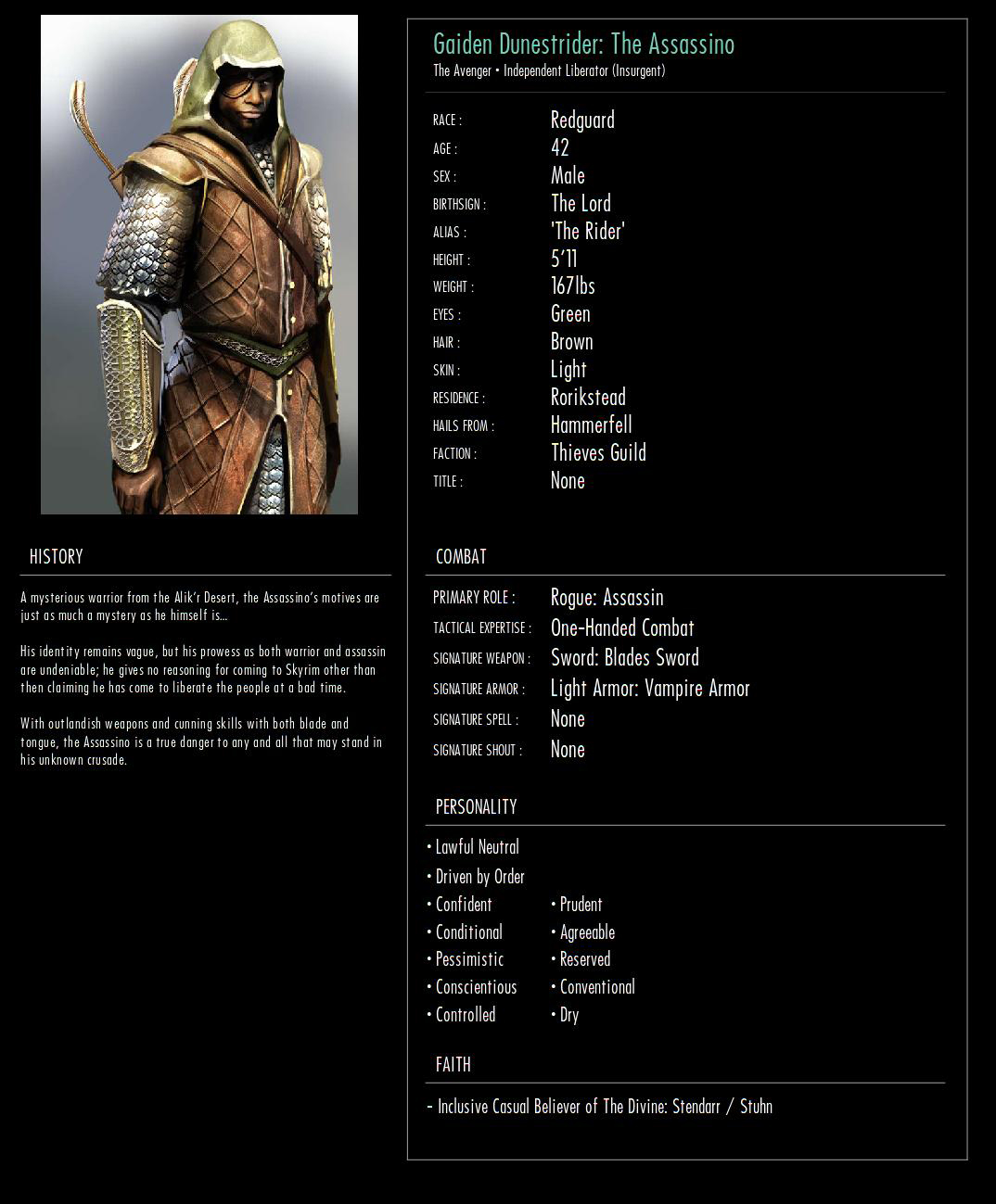 Skyrim Character Developer for Roleplayers at Skyrim Special Edition