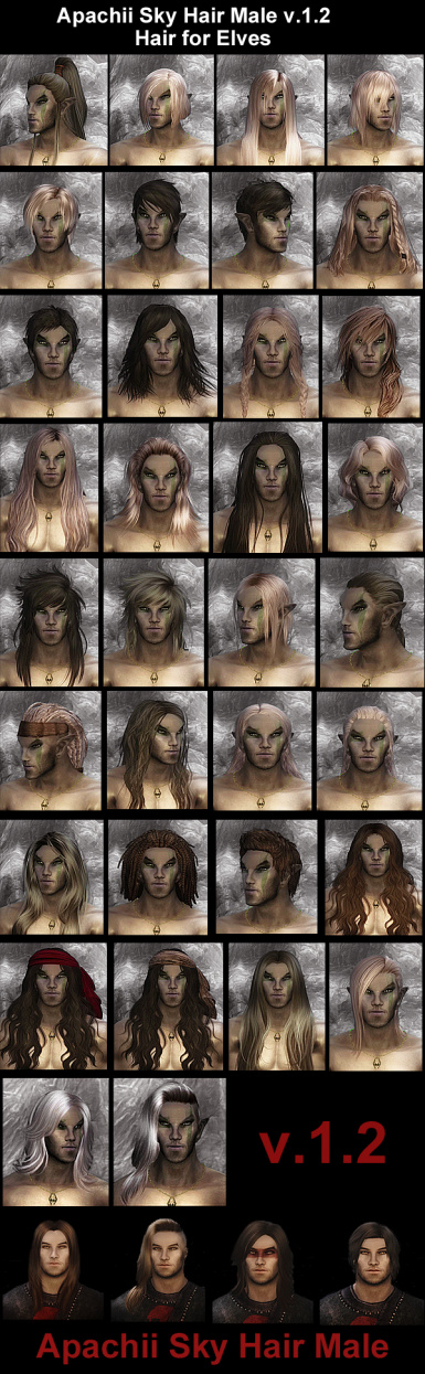 Remodeled hairs for Elves added in  ApachiiSkyHair Male v_1_2