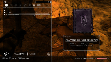 Placed Clannfear NPCs will drop a Spell Tome