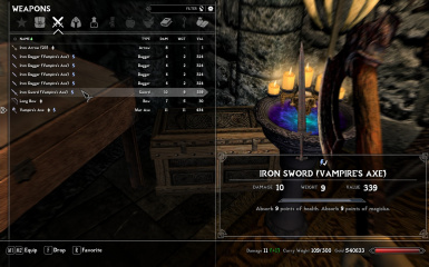 Enchanted items in your inventory.
