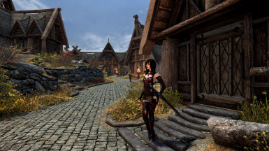 Idling near the Whiterun streets. Dialogue support for the Crimson Blood armor is added through an optional patch.
