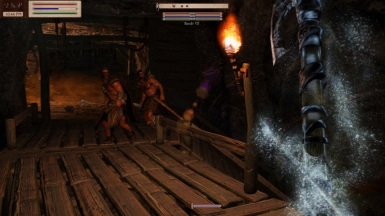 Image from SSE version. Note that the extra enemy bars from moreHUD SE are not included