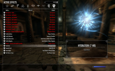 Hydration in Active Effects screen