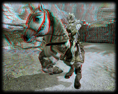 Armored horse in anaglyph 3D