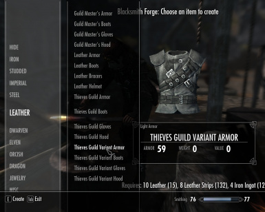 Unenchanted Craftable Thieves Guild Armor