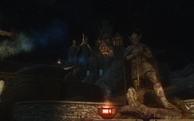 Talos Statue in Front of Dragonsreach Nightime