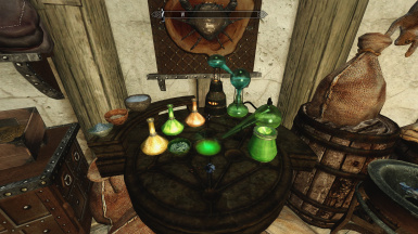 alchemy lab with player-placed beakers