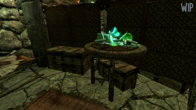 WIP Morrowind Style lab equipment shown in player home to be included in an optional esp