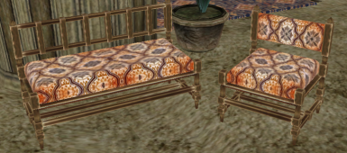 Orange couch and chair