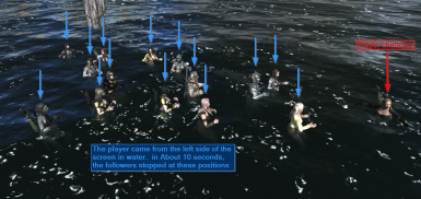 Following player character closely in water