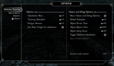 Options page with cheats