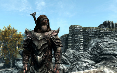 Orcish armor with scarf-less armored fur hood
