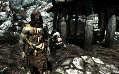 Forsworn armor with scarf-less brown fur hood