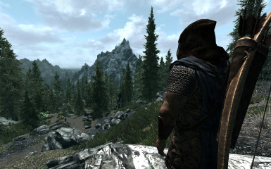 Stormcloak light armor with scarf-less brown fur hood