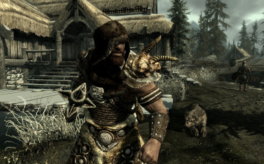 Fur Hoods HD - Nord with Scaled Horn Armor
