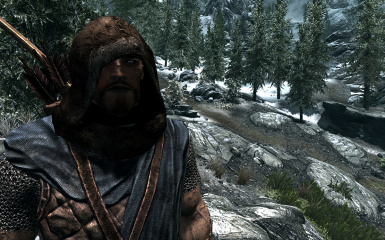 Sons of Skyrim light armor with scarf-less brown fur hood