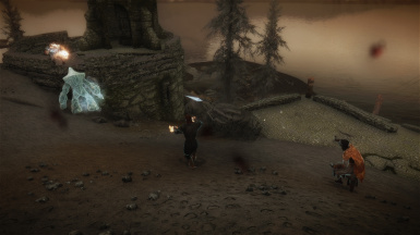 Arunh and Zalva in battle with Ash Spawn
