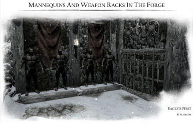 Mannequins and weapon racks in the forge