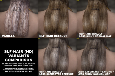 SLF Hair Variants comparison chart