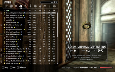 Full four item effect Alchemy and Smithing fortify skill on one