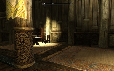 Whiterun dragonreach hd wood carvings and wall spikes at