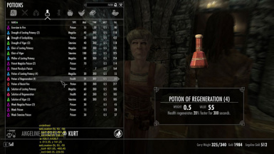 potion of regeneration sell price