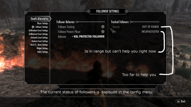 Follower status in menu