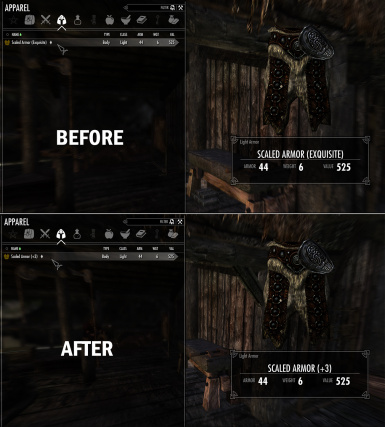 before and after of tempered scaled armor