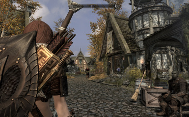 Nord girl with dwarven dagger and elven shield