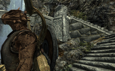 Argonian with shield resting on quiver
