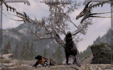 Death hound protecting his friend against death nagas