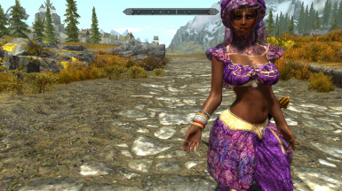 Bella, one of the wenches, with Whole Lotta Woman bodyslide, Graviczapa Desert Dancer outfit; low-res game, no ENB.