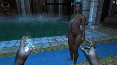Bella, one of the wenches, with Whole Lotta Woman bodyslide; low-res game, no ENB.