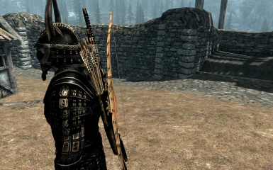 Bamboo Backed Hickory Bow and Wooden Backed Bow at Skyrim