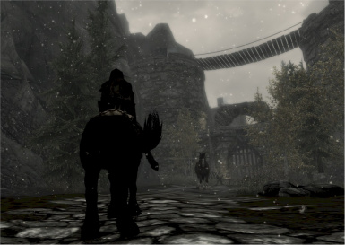 Approaching Rift Pass Border Fort from the Skyrim side