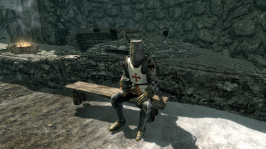 Knight resting on a bench