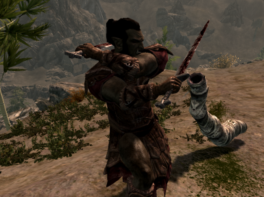 Imperial Orc fighting against a sand worm in Orsinium
