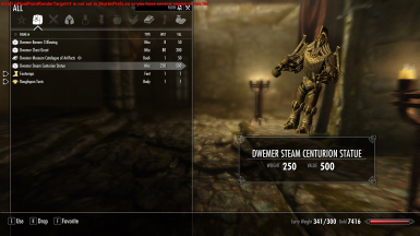 statue in player inventory