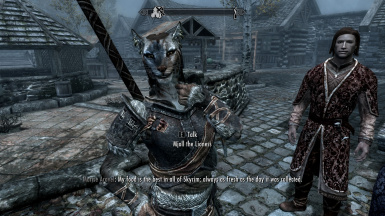 Mjoll The Lioness posing with Aerin in the Riften Market
