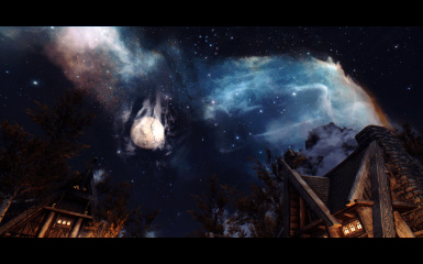 Waterfall Nebula and Helkar seen from Whiterun
