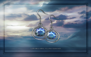 Luminous Opal Ellipse Earrings