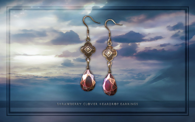 Strawberry Clover Teardrop Earrings