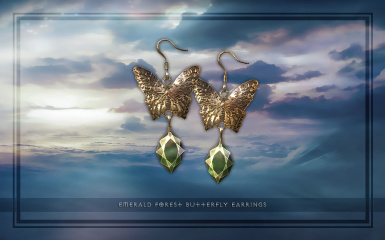 Emerald Forest Butterfly Earrings