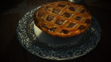 Silver plate with pie