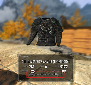 Thieves Guild Master Armor Better Carry Weight