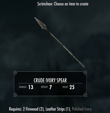 Crude Ivory Spear - requires Immersive Weapons and Immersive Weapons Patch